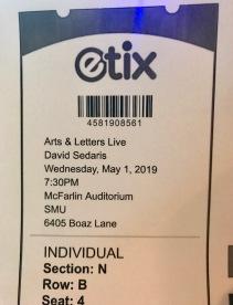 David Sedaris ticket